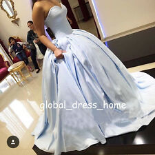 Baby Blue Ball Gown Quinceanera Dresses Sweet 16 Satin Prom Formal Wedding Gowns