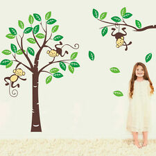 Jungle Monkey Tree Wall Sticker Removable Stickers Decals Decor Kids Room Mural