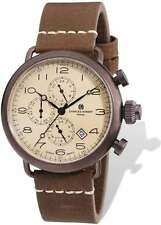 Mens Charles Hubert IP Brown Leather Band 46mm Dual Time Watch