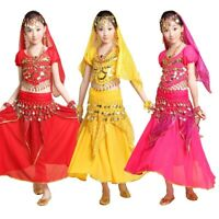 Children Belly Dance Performance Costume Girl Indian Theme Top Skirt Suit Outfit