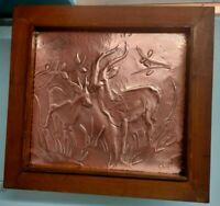 """Israeliana 1952 Copper etching Deers Framed clean, signed by """"Gila""""  20""""X18"""""""