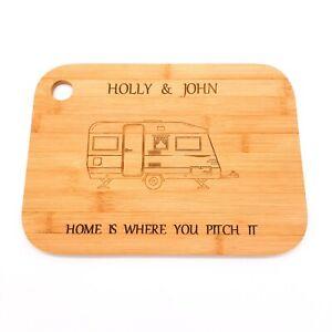 Personalised Caravan gift. Bamboo chopping board. Caravan owners, camper, couple