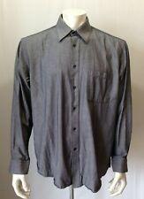 Nicole Miller Men's Size 16-16 1/2 Gray Pinstriped L/S Button Down Dress Shirt