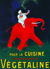 "13x19""Poster on Canvas.Home Interior design.Chef rides red elephant.10595"