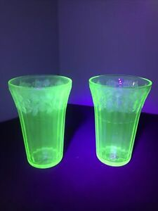 Green Uranium/Vaseline Glass Drinking Glasses/Tumblers Etched Flowers/Cherries