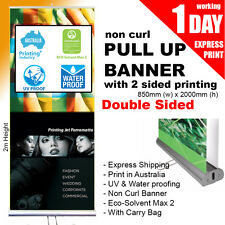 Double Sided Pull up banner / Roll up Banner (Non Curl Printing) 850mm x 2000mm