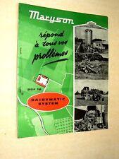 Prospectus Matériel Agricole MARYSON Silo Stockage Brochure Tracteur Tractor