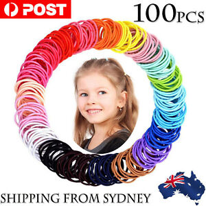 100x Hair Ties Elastic Band Snagless Ponytail Tie School Bubbles Various Colours