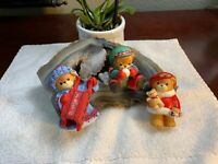 Lucy & Me Girl Bear Christmas Snowball BabyBear Lucy Rigg ENESCO 1983 LOT Of 3