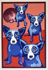 George Rodrigue Blue Dog Vagabond Moon Silkscreen Print Signed Numbered Artwork