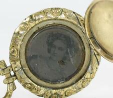 Vintage Anitque Victorian 10K Yellow Gold & Filled Locket Pendant w/ Picture QX
