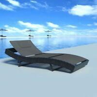 vidaXL Sun Lounger Poly Rattan Wicker Black Garden Day Chair Recliner Seat