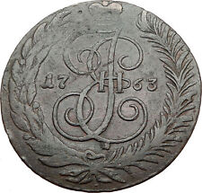 1763 CM CATHERINE II the GREAT Antique Russian 5 Kopeks Coin FINLAND Mint i65465