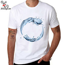 100% Cotton Dynamic Water Droplets Design T shirts Men Short Sleeve top Tees