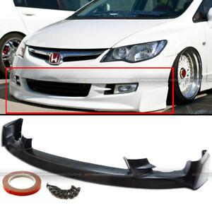 Fit 09-11 Honda Civic 4Dr Sedan PU Mugen Front Bumper Lip Spoiler Bodykit