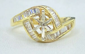 .50 ct NATURAL DIAMOND semi mount ring solid 14k yellow GOLD  7X5 mm (VIDEO)
