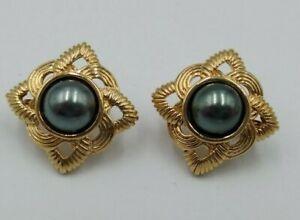 "Vintage AVON 1980's  Faux Tahitian Black Pearl  1"" Gold  Clip On Earrings"