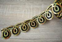 IOT05 Black Gold Sequins 5cm wide Iron on Embroidered Trim One Meter