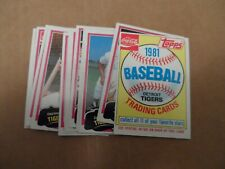 1981 Topps Baseball Coca Cola Tigers Team Set Complete