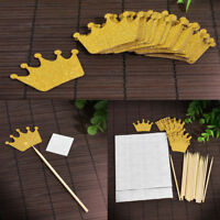 20 Pack Gold Glitter Crown Cupcake Toppers Cake Decoration For Wedding Birthday