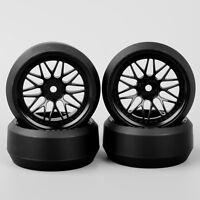 4PCS 1:10 RC Car Speed Drift 3 Degree Tires Tyre Wheel Rim BBNK For HPI HSP