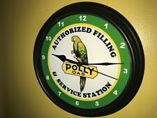 Polly Parrot Oil Gas Station AuthService Garage Advertising Wall Clock Sign