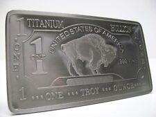 1- SOLID TITANIUM 1 troy oz BUFFALO BAR .999 Fine Bullion