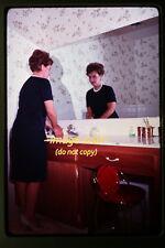 1967 Woman in Retro Bathroom & Mirror Reflection, Orig. 35mm Photo Slide a28a