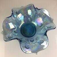"Vintage Fenton Blue PINEAPPLE #2000-A 13"" Square Bowl"
