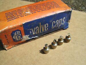 Vintage nos ACME tire valve metal caps part service gm Rat Hot rod mg ford chevy