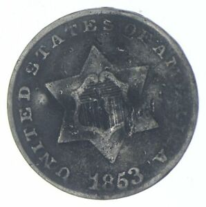 RARE Silver Trime 1853 Three Cent Silver 3 Cent Early US Coin Look it up! *006