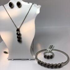 Thai Black Spinel Set: Ring (Sz10) + Pendant + Chain + Bangle & Free Earrings