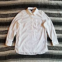 New Tommy Hilfiger Sz S Long Sleeve Roll Tab Popover Tunic Shirt White Textured