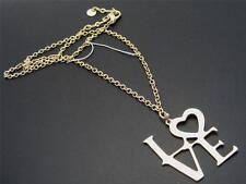 "$16 Nordstrom ""LOVE"" Pendant & Chain Necklace Shiny Goldtone Metal 18"" Long"