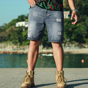 Herren Jeans Shorts Kurze Hose Denim Destroyed Blau Bermuda Sommer kurzhose
