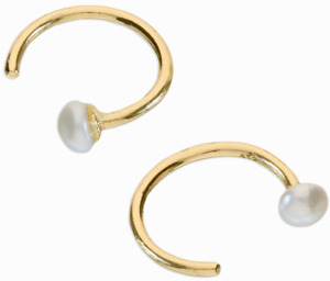 Gold Earrings Pull Through Hoops Pearl Stopper Gold on 925 Sterling Silver