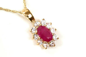 """9ct Gold Ruby and CZ cluster Pendant and 18"""" Chain Gift Boxed Necklace UK made"""