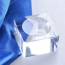 Glass Crystal Sphere Base Stand Holder Block Rocks Dimple Transparent Home Decor