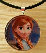 """""""ANNA"""" Disney's Frozen. Glass Pendant with Leather Necklace"""