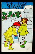 MERRY CHRISTMAS Pranks BOYS PAINT ON STONE WALL Postcard ca.1905