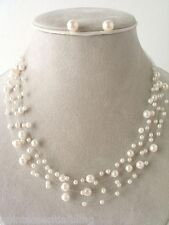 Beach Bridal Party Faux Cream Pearl Floating Illusion Necklace & Earrings Set