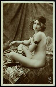 Original 1910 French Postcard Photo Voluptuous Nude Girl Posing Jean Agelou