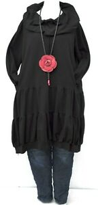 """PLUS SIZE BLACK JERSEY COTTON BALLOON LARGE COLLAR TUNIC BUST UP TO 50"""" L-XL"""