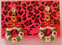 Betsey Johnson Crystal Rhinestone Enamel Christmas Wreath Post Earrings