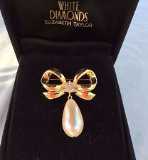 Avon- Elizabeth Taylor Signed White Diamonds Faux Pearl Brooch Pin