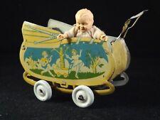 Ancienne rare poussette en tôle bébé landau miniature penny toys japan 1920