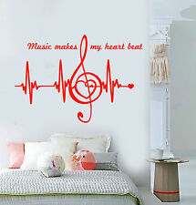 Vinyl Wall Decal Music Notes Quote Heart Pulse Heartbeat Stickers (1439ig)