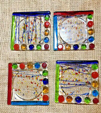 """New listing 4 Coasters Art Glass Colorful Abstract Geometric 4"""" x 4"""" Textured in Center"""