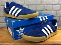ADIDAS MENS UK 7 EU 40 2/3 BLUE WHITE JEANS SUEDE TRAINERS GUMSOLE LB
