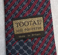 Vintage TOOTAL Tie Mens Necktie Retro 1980s Fashion DARK NAVY RED